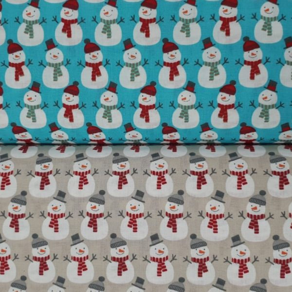 100% Cotton Christmas Prints - Snowmen on Blue