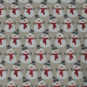 100% Cotton Christmas Prints - Snowmen on Biscuit