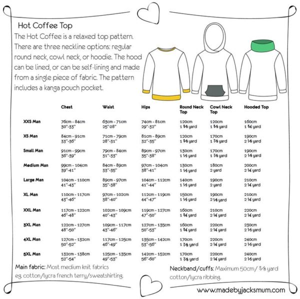 Made By Jack's Mum Hot Coffee Hoody Sewing Pattern (Men's)